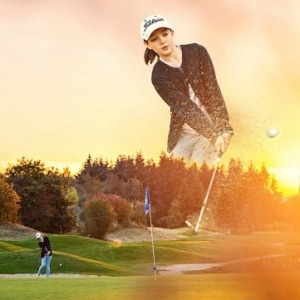 affiche d'une golfeuse
