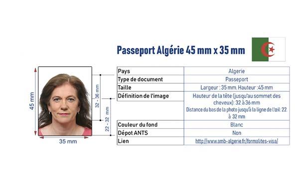 photo identité passeport algérien