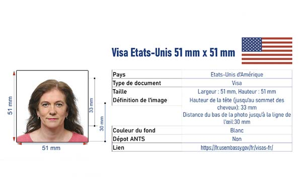 photo d'identité visa Etats Unis