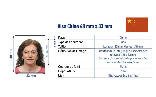 photo d'identité visa Chine