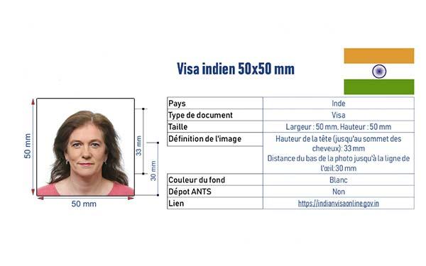 normes photo d'identité visa Indien
