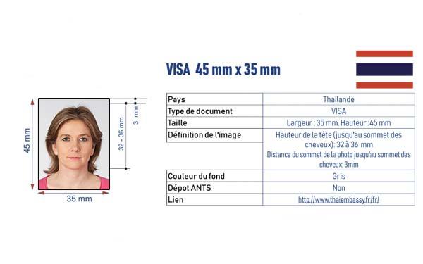 photo identité visa Thaïlande