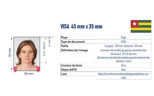photo d'identité pour un visa pour le Togo