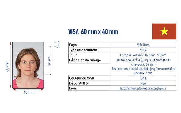 photographe d'identité visa Vietnam